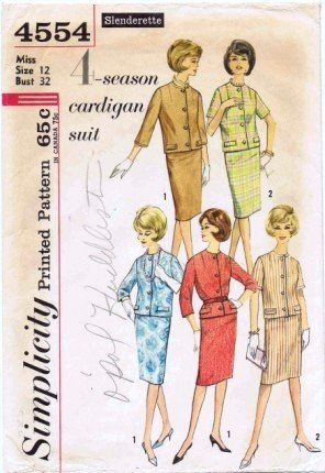 Vintage 1960's Simplicity 4554 Sewing Pattern Misses Cardigan Jacket Skirt Suit Size 12 - Bust 32