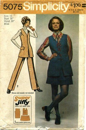 Vintage 1970's Simplicity 5075 Sewing Pattern Misses Tunic Mini-Skirt Pants Size 16 - Bust 38