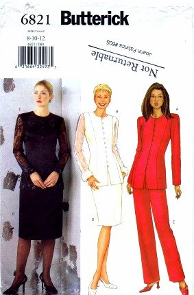 Butterick 6821 Sewing Pattern Misses Jacket Skirt Pants Suit Size 8 - 10 - 12