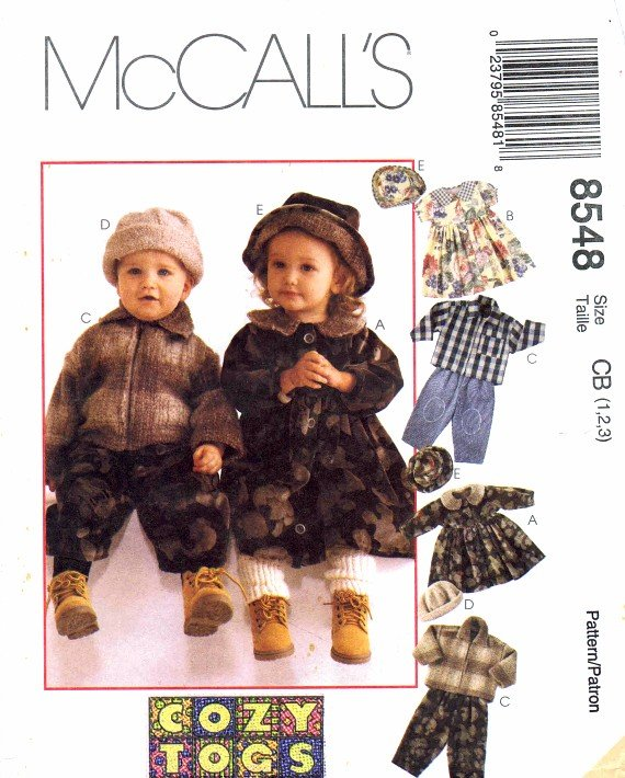 McCall's 8548 Sewing Pattern Toddlers Jacket Dress Pants Cap Hat Size 1 - 2 - 3
