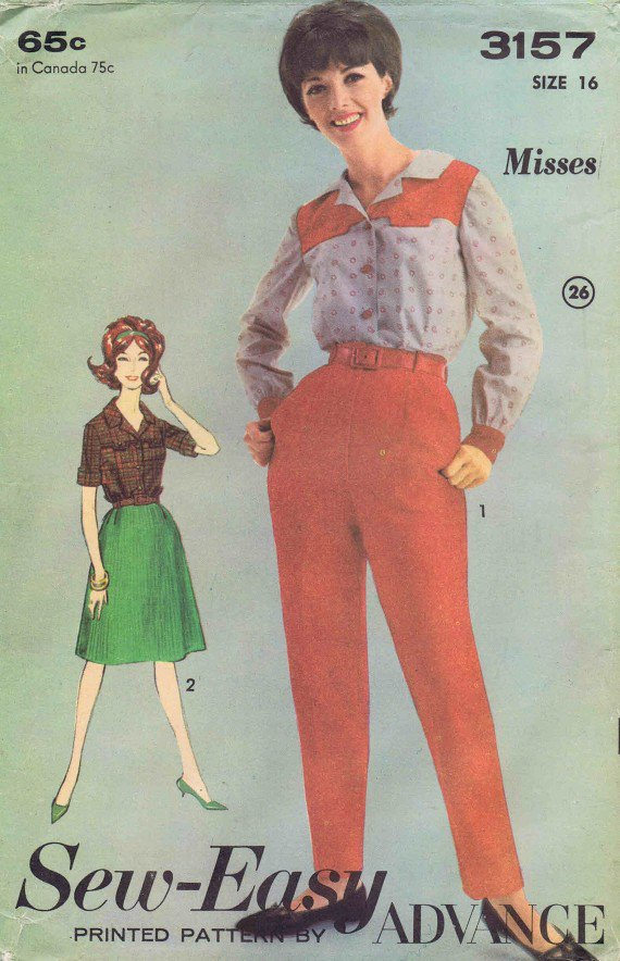 Advance 3157 Vintage Sewing Pattern Womens Sports Separates Size 16 Bust 36