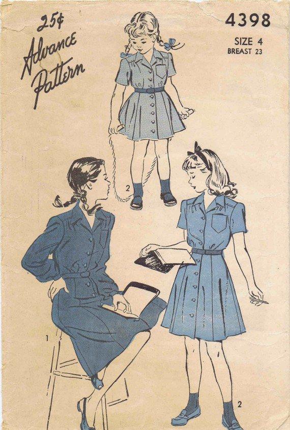 Advance 4398 Vintage Sewing Pattern Girls Shirtwaist Dress Size 4 Breast 23