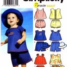 Simplicity 7239 Sewing Pattern Babies Tops Panties Hat Size XXS - L
