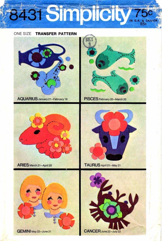 1960's Simplicity 8431 Vintage Transfer Pattern Appliquing Signs of the Zodiac