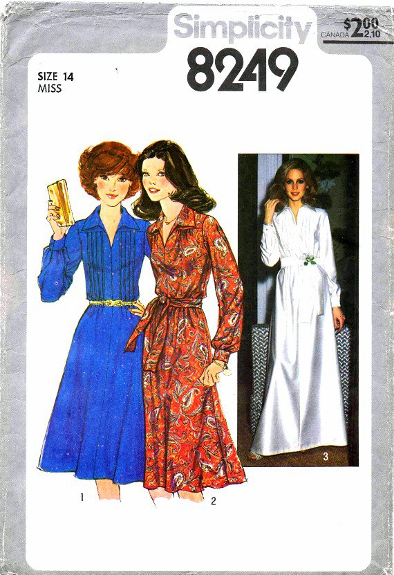 1970's Simplicity 8249 Vintage Sewing Pattern Womens Tucked Bodice Dress Size 14 Bust 36