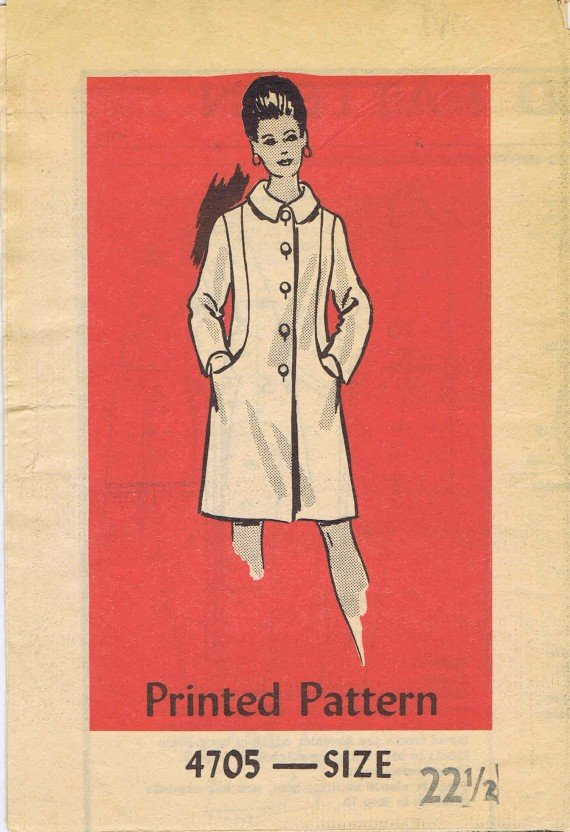 1970's Mail Order 4705 Vintage Sewing Pattern Womens Lined Coat Half Size 22 1/2 Bust 45