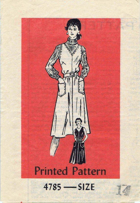 1970's Mail Order 4785 Vintage Sewing Pattern Womens Jumper or Sundress Size 14 Bust 36