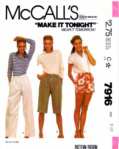 1980's McCall's 7916 Vintage Sewing Pattern Womens Pants or Shorts Size 9 - 10
