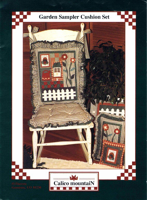 1990's Calico Mountain Garden Sampler Cushion Set Sewing Pattern