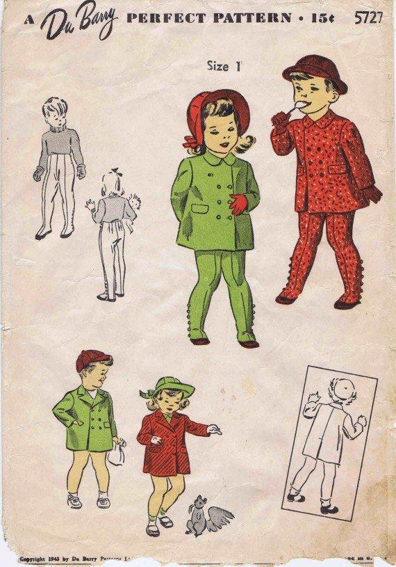 1940's Du Barry 5727 Girls Boys Coat Leggings Vintage Sewing Pattern Size 1