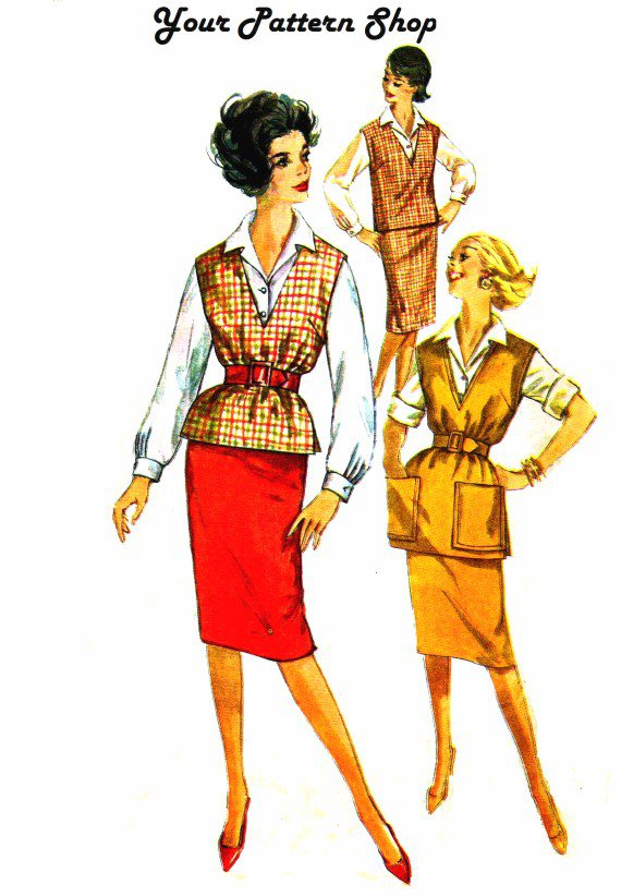 1960s Simplicity 3544 Teens Blouse Skirt Top Vintage Sewing Pattern Size 12 Bust 32