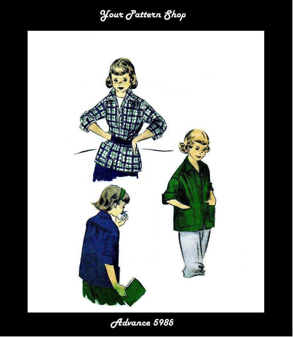 1950s Advance 5988 Girls Sports Shirt Vintage Sewing Pattern Size 6