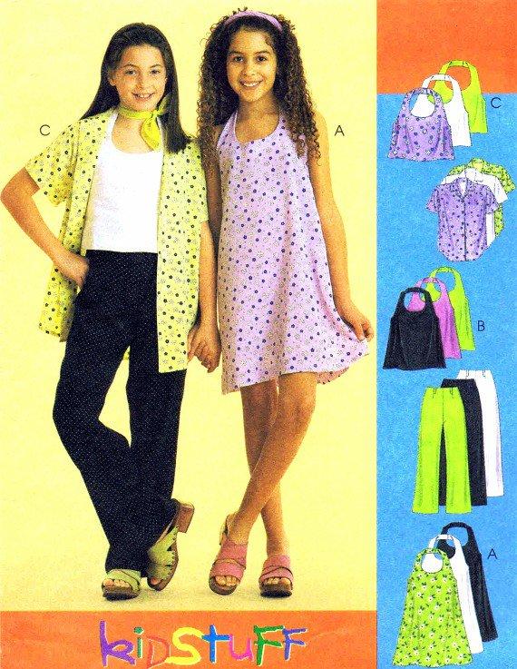 McCall's 2569 Girls Halter Dress Top Shirt Pants Sewing Pattern Size 10 - 12 - 14