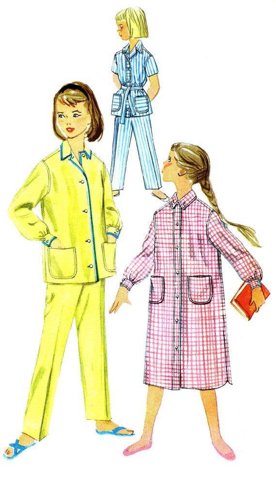 1950s Simplicity 2253 Girls Pajamas Nightshirt Vintage Sewing Pattern Size 8
