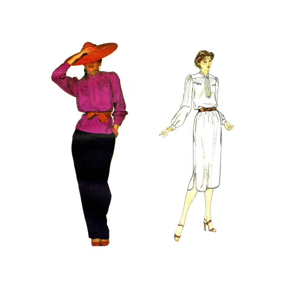 Vintage 1970s Vogue 2227 Valentino Top Pants Dress Vintage Sewing Pattern Size 10 Bust 32 1/2