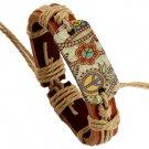 Hand Made Women Men Leather Bracelets Pulseira Peace Mark Colorful Picture Wrap Bracelet
