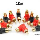 CablesOnline 10-PACK RCA Male Plug to RCA Female Right-Angle Gold-Plated Adapter , Red / Black (AV-