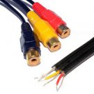 kenable TRIPLE RCA Phono Sockets COMPOSITE & Audio to Bare End Cable 20cm (~8 inch) GOLD