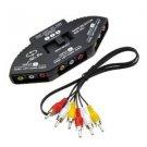 Importer520 3-Way Audio Video RCA Composite AV Video Game Selector Switch Box Splitter