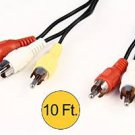 10FTAV Audio Video RCA Male to Male Stereo Composite Cable for HDTV DVD Player lot