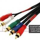 PTC 6FT Premium GOLD Series Component/Composite 5-RCA M/M Cable