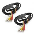 SCART to Triple Male RCA Phono Plugs AV TV Adapter Cable 1.5M 2Pcs