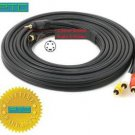 PTC Premium GOLD Series 15 ft S-Video+3.5mm Stereo to Composite 3-RCA (RYW) Stereo 22AWG Cable