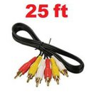 Wennow 25FT AV Composite 3 RCA Cable Male Video Stereo Audio Triple 3-RCA Cord DVD TV