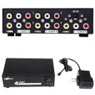 HDE 4 Port RCA Composite Video Audio DC Powered Splitter Box