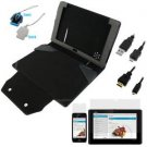 Evecase® Black PU Leather Case with Keyboard Cover + LCD Screen Protector + Micro-USB Sync