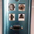 CERTICABLE CUSTOM DESIGNED STAINLESS STEEL SINGLE GANG WALL PLATE - VGA / SVGA + 1 USB + 3.5mm