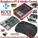 Raspberry Pi 2 Based - Extreme Xbmc Kodi Media Center - Red Case - Wireless Keyboard/Mouse Comb