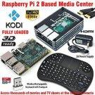 Raspberry Pi 2 Based - Extreme Xbmc Kodi Media Center - Black Slices Case - Wireless Keyboard/M