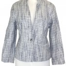 Lucky Brand Womens Jacket MARINA Tweed Blazer Print Lining Blue Sz S NEW $149