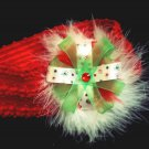 Christmas Bow Headband with feathers