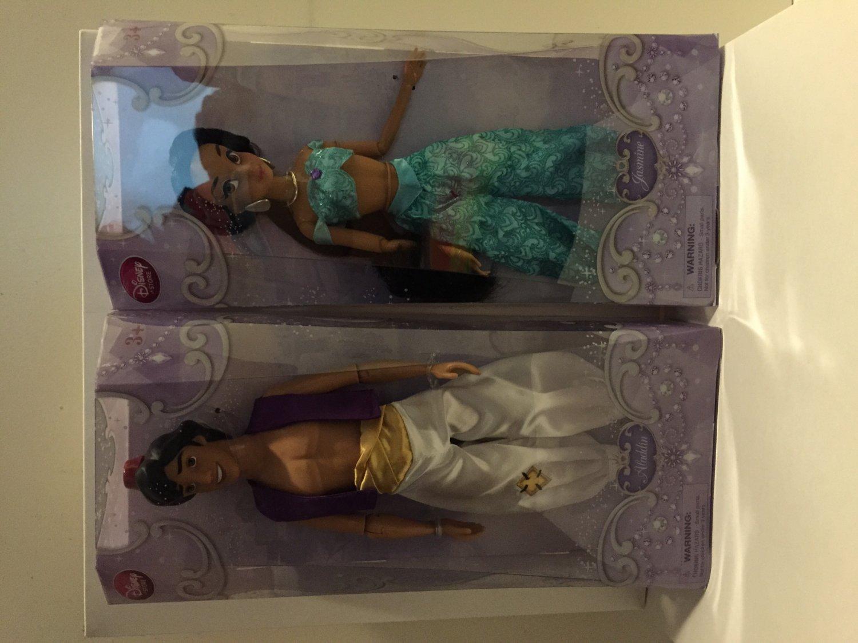 "Disney Store Exclusive/Authentic Aladdin & Princess Jasmine Doll-12"" H New in Box Set"