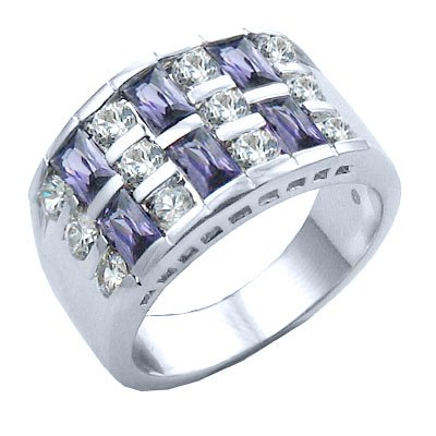 Diamond CZs and Brazilian Amethyst CZ 7.96 carat Ring sizes: 6-7-8