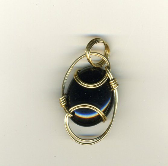 Dichroic Pendant sclupted with 14kt rolled gold