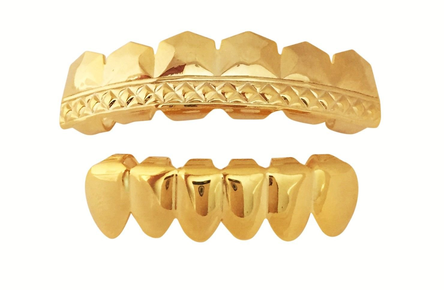 64fccecbb 14k GP Mouth Teeth Grillz Set w Mold Kit Player Embossed L054/S001