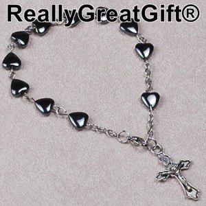 Catholic Rosary BRACELET - Heart Shaped Hermatite - 8 mm