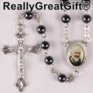 Hematite ROSARY - Round beads with St. Padre Pio center piece