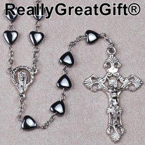 Catholic ROSARY - Heart Shaped Hematite 8 mm bead