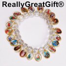 New BRACELET with Medals of Jesus, Mary and Saints - Transparent 8 mm Beads
