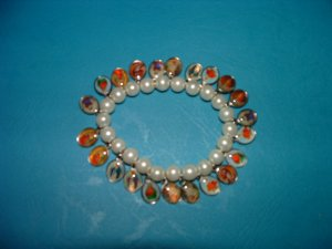 Pearl White Bracelet with Medals of Jesus, Mary and Saints