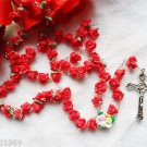 Catholic ROSARY-RED Rose Flower Ceramic bead with a Crucifix