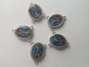 The Crucifix Center Piece for Rosary - (5) Five pieces - Blue BG - NEW