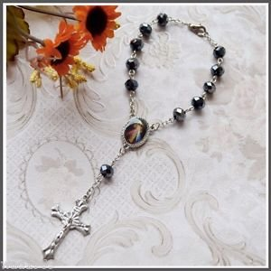 Beautiful  Rosary for Car Rear View Mirror with Divine Mercy and a Cross - NEW