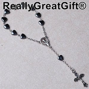 TWO (2) Car Rosary Lot � Heart Shaped Hematite � 8 mm � NEW