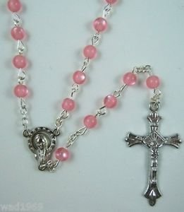 Catholic ROSARY - PINK round Cat eye Plastic beads with Mother Mary & Cross- NEW