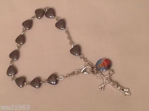 Mother Mary BRACELET - Heart Shaped Hematite bead - 8 mm - NEW
